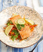 Citrus Cilantro Salmon with Carrot Slaw