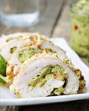 Guacamole Stuffed Chicken with Asparagus