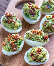 Guacamole Deviled Eggs with Bacon