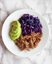 Kalua Pork with Braised Red Cabbage & Avocado