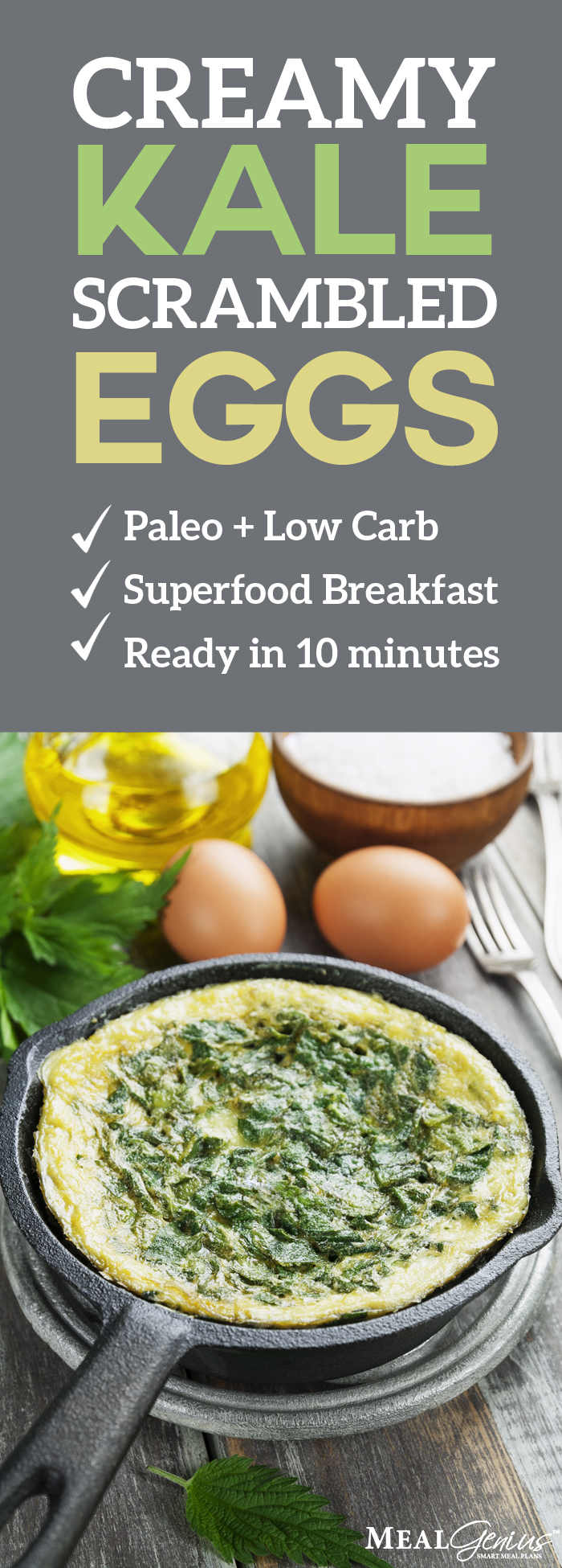 Creamy Kale Scrambled Eggs - Meal Genius