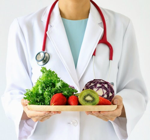 Doctor with Healthy Meal Plan