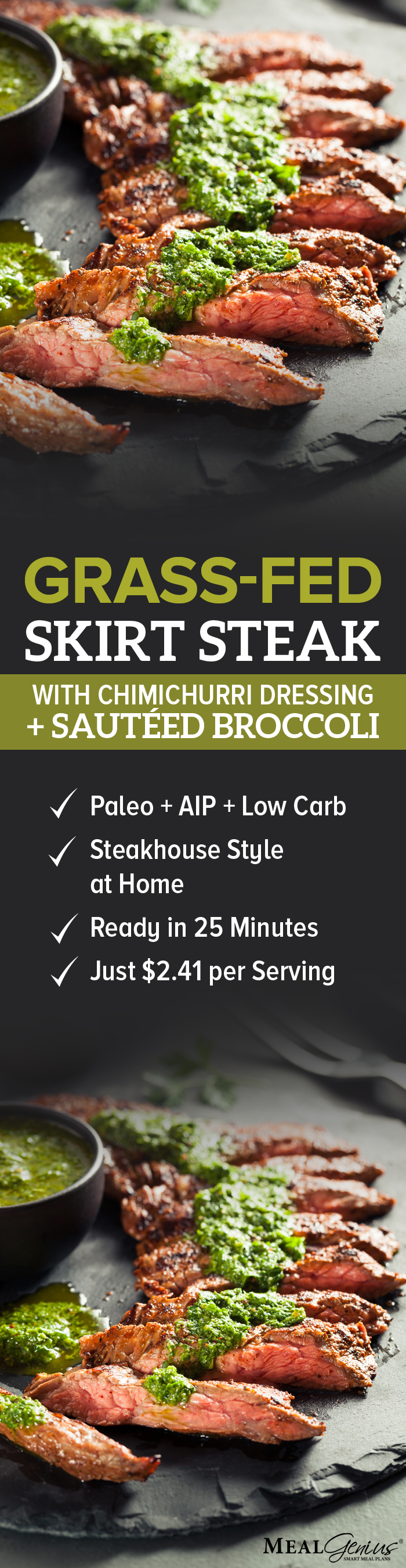 Grass-Fed Skirt Steak with Chimichurri and Broccoli - Meal Genius