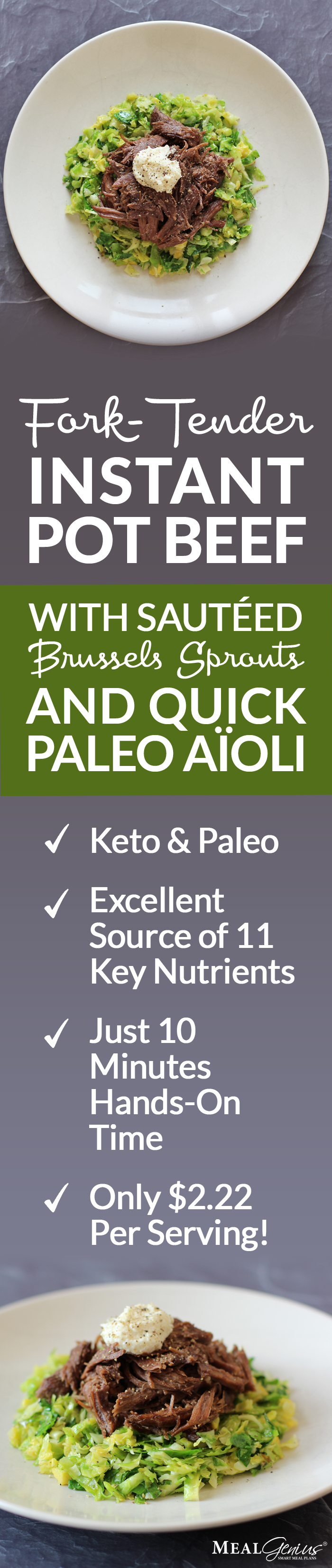 Instant Pot Beef Brussels Sprouts & Paleo Aioli - Meal Genius