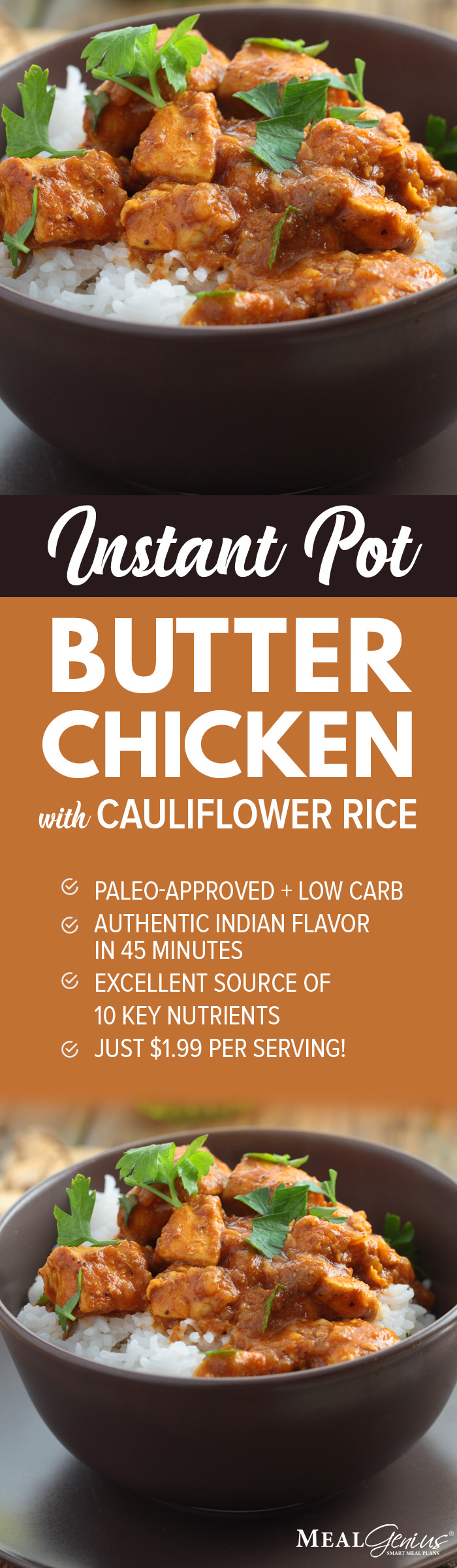 Instant Pot Butter Chicken with Cauliflower Rice - Meal Genius