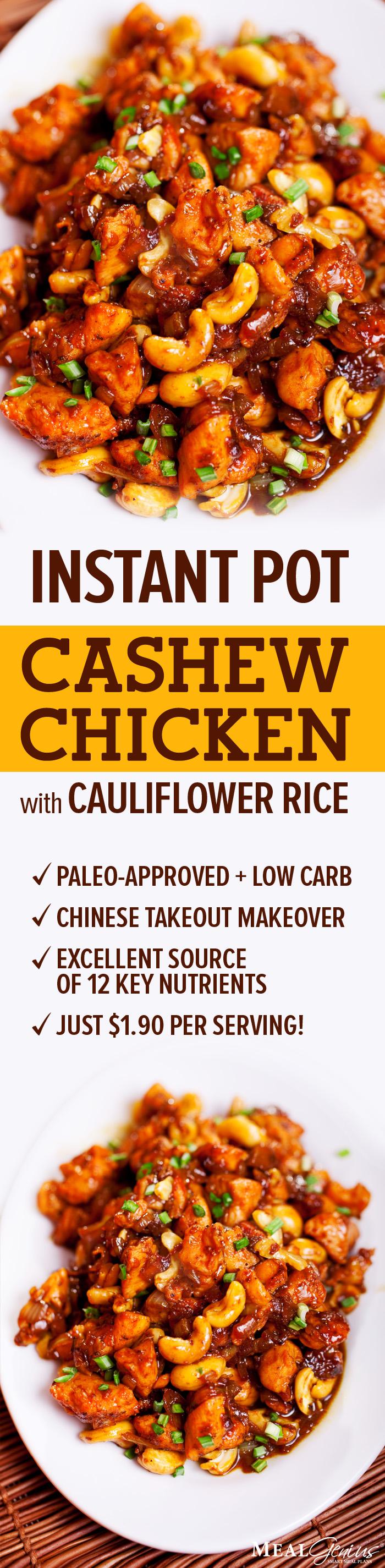 Instant Pot Cashew Chicken Cauliflower Rice - Meal Genius