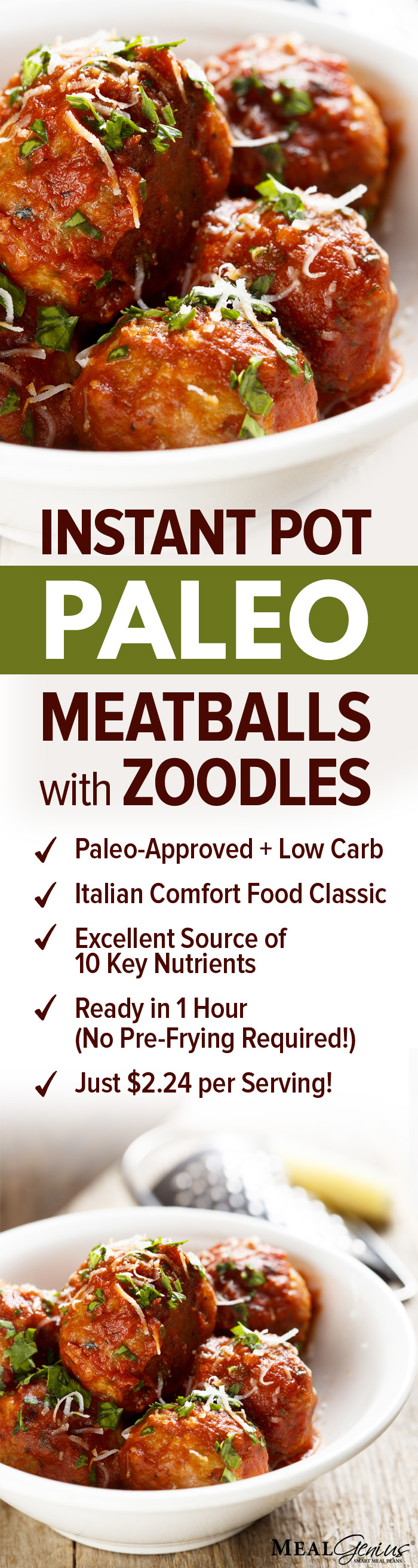 Instant Pot Paleo Meatballs with Zoodles - Meal Genius
