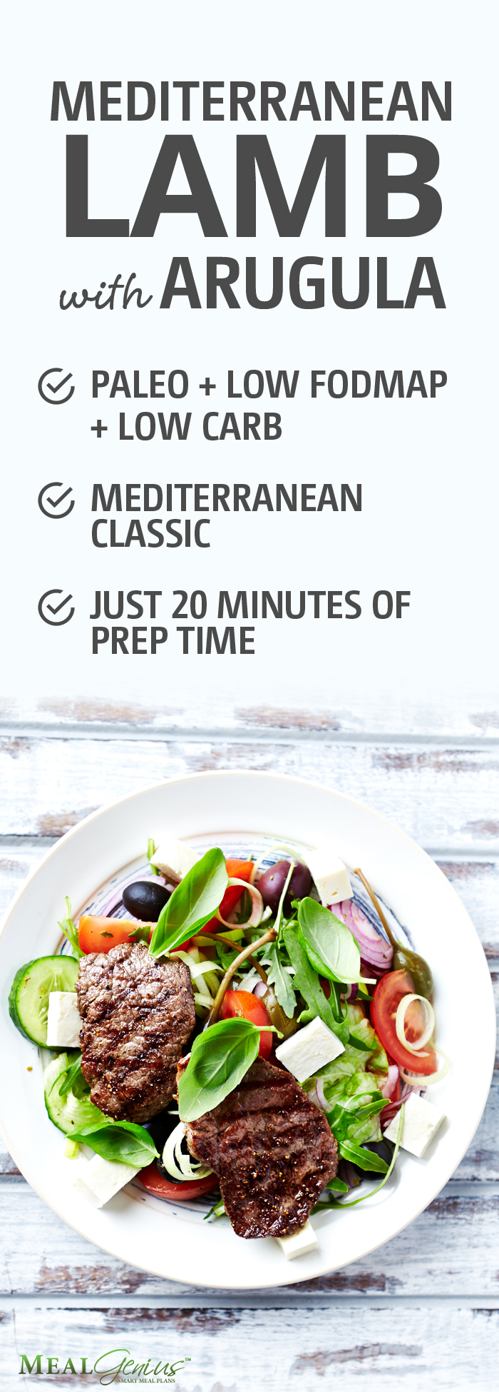 Mediterranean Lamb with Arugula and Olives - Meal Genius